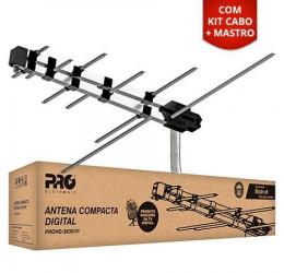 Antena Externa Digital VHF/FM/UHF/HDTV 12 Elementos 6dBi (Kit com Mastro + Cabo 8m) PROHD-3630/01 - Proeletronic