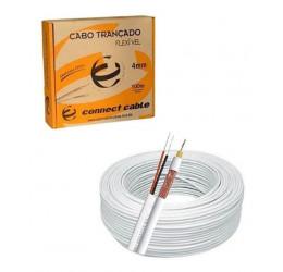 Cabo CFTV Coaxial RFF 4mm Liga de Cobre + Bipolar Externo Branco 100m - Connect Cable
