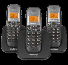 Telefone Sem Fio Com Identificador E Entrada Para Headset + 2 Ramais - Intelbras TS 5123 Preto