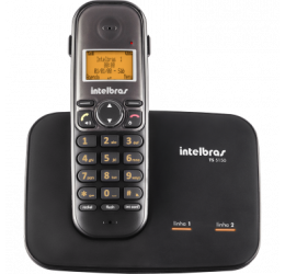 Telefone Sem Fio Com Identificador E Entrada Para 2 Linhas - Intelbras TS 5150 Preto